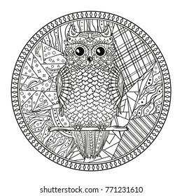 Mandala With Owl Zentangle Hand Drawn Abstract Patterns On Isolation Background Design For