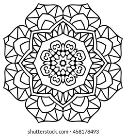 Mandala For Painting. Vector Ethnic Oriental Circle Ornament. Great for Antistress Coloring Book, Artmeditation