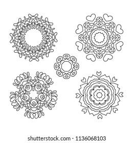 Mandala pattern black and white. Mandala black for coloring art. Arabic Indian Spain Chinese mystic vintage round mandala. Doodle ornamental  floral figures set