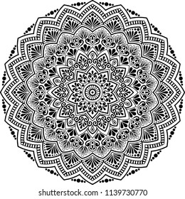 Mandala pattern black and white good mood