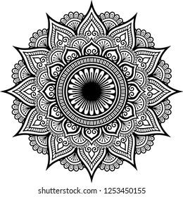 Mandala pattern black and white good mood