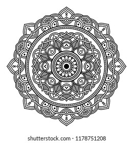 Mandala pattern black and white. Islam, Arabic, Pakistan, Moroccan, Turkish, Indian, Spain motifs. Vector illustration EPS10