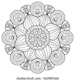 Mandala pattern in black and white. Vector illustration for coloring book pages