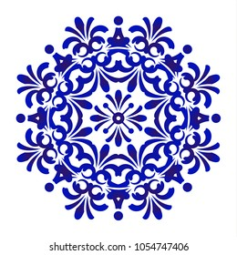 Mandala Pattern blue and white, Abstract vector floral ornamental border, ceramic watercolor background design, kaleidoscope, yoga, India, Arabic, damask porcelain,tile, gzhel, vector illustration