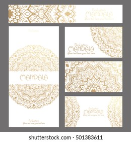 Mandala pattern design template. May be used for Business card or booklet. Vector illustration.