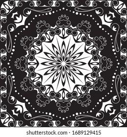 Mandala Pattern, Indian Retro Pattern. (Vector Bandana Design)