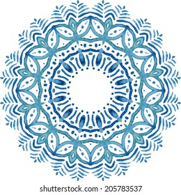 Mandala pattern. Watercolor vector blue ethnic background. Abstraction. Watercolor circle.