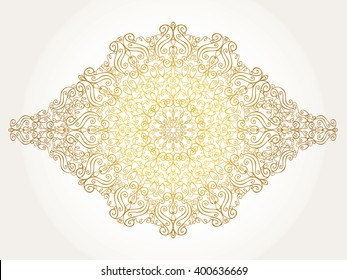 Mandala pattern,Arabic background.Vintage decorative ornament,background. Vector East,Islam,Indian,motif,revival swirling.Ethnic texture.Orient,symmetry lace,fabric,wallpaper.Wedding,holiday card.Gold