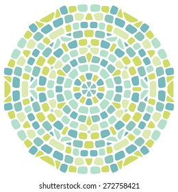 Mandala from paving stones, decorative element. Green and blue colored mosaic kaleidoscopic ornament.