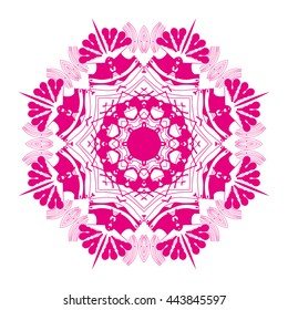 Mandala pink. White background. Flower mandala.