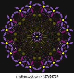 Mandala purple. Black background. Floral mandala.