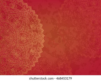 Mandala retro red background. Horizontal background with oriental round pattern and texture of old paper. Vector illustration.