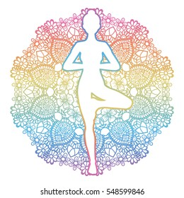 Mandala round background. Women silhouette. Yoga tree pose. Vrikshasana. Vector illustration.