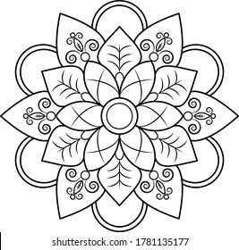 Mandala round floral ornament pattern. Anti-stress coloring page for kids and adults. Yoga, tatoo, mehndi, lace design. Vector illustration.