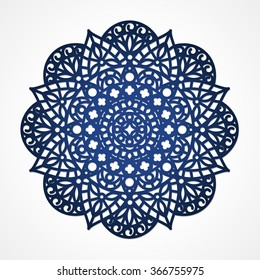 Mandala. Round Ornament Pattern. Geometric circle element made in vector. Circular pattern in arabesque style. My be used for laser cutting or die cutting machines. Kirigami yantra. Rangoli design.