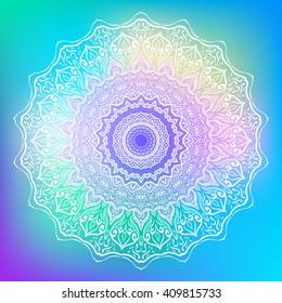 Mandala. Round Ornament Pattern on bright abstract background. Geometric circle element/. Spiritual and ritual symbol of Islam, Arabic, Indian religions. Oriental motifs. Ottoman design. Vector.