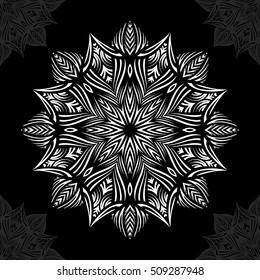 Mandala. Round Ornament Pattern on black background.
