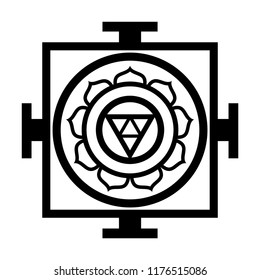 Mandala — sacred space, sacral place; spiritual and ritual symbol in Hinduism and Buddhism, representing sacral model of the structure of Universe, the chart of Cosmos.  (Oriental Religious Symbol).