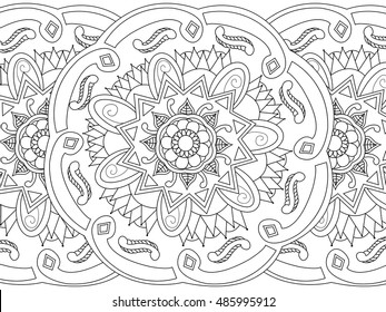 Mandala seamless coloring book for adults vector illustration. Anti-stress coloring for adult. Zentangle style. Black and white lines. Lace pattern