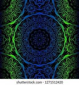Mandala Seamless Floral Pattern. Design For Square Fashion Print. Vector Illustration. Blue, green color