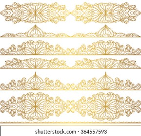 Mandala seamless pattern borders,Arabic strips background.Vintage decorative ornament.Vector background.Pattern borders,East,Islam,Arabic Indian,thai motifs.Abstract Tribal,ethnic.Orient  lace,Gold