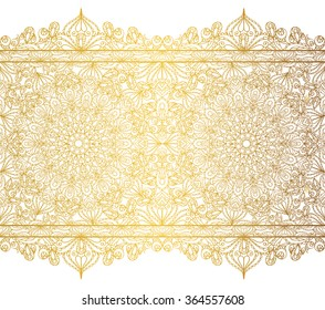 Mandala seamless pattern borders,strips background.Arabic Vintage decorative ornament.Vector background.East,Islam,Arabic,Indian,ottoman,thai motifs.Abstract Tribal,ethnic texture.Orient  lace,Gold