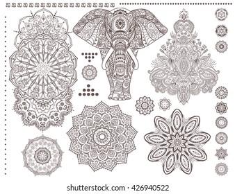 Mandala set and elephant. Vector.  Ornament invitation card with mandala. Vintage decorative elements. Tribal, Boho, Bohemian style. Elements for flash tattoo