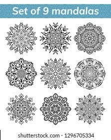 Mandala set. Indian antistress medallion. Abstract islamic flower, arabic henna design, yoga symbol. Collection of mandalas on white background. Vector illustration