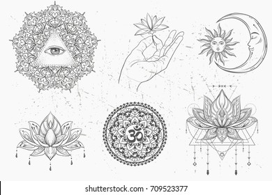 Mandala set, lotus flower. moon and sun. om sign set. Vector. Mandala tattoo. boho style, kaleidoscope,  yoga, india, Arabic. circular pattern, sketch for tattoo