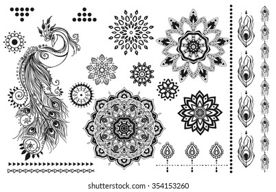 Mandala set and other elements. Vector. Mandala tattoo. Perfect  cards for any other kind of design, birthday and other holiday kaleidoscope medallion yoga, india, arabic  set of tattoos flash tattoos