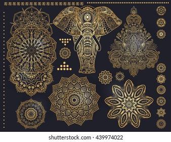Mandala set and other elements. Vector. Ornament invitation card with mandala. Vintage decorative elements. Tribal, Boho, Bohemian style. Elements for flash tattoo