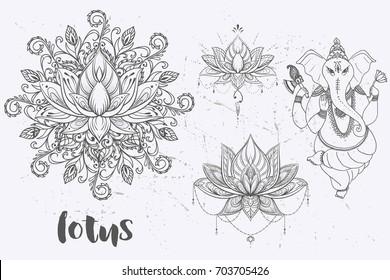Mandala set and other elements. Vector. Mandala tattoo. , boho style, kaleidoscope, medallion, yoga, india, Arabic. circular pattern, sketch for tattoo
