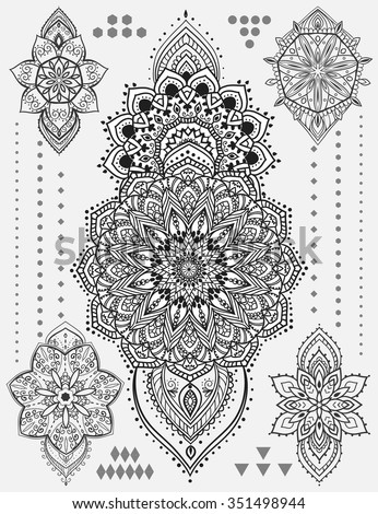 Mandala Set Other Elements Vector Mandala Vector de stock (libre de ...