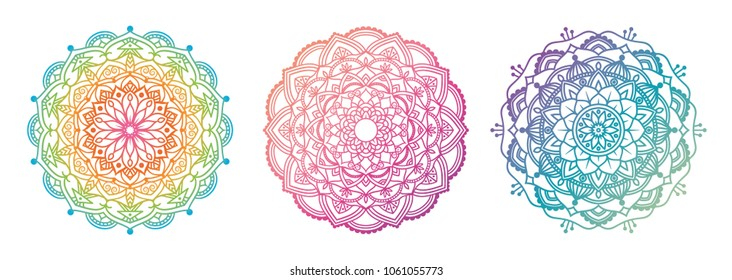 Mandala set.  Outline gradient color design.