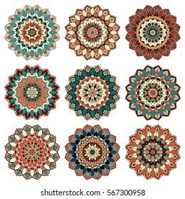 Mandala shoulder tattoo. Stylized flower design element. Vector round ornament. Zentangle art meditation illustration. Unusual flourish logo. Chakra symbol print oriental floral graphic. Islamic decor