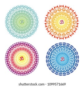 Mandala with the sign of Aum (Om, Ohm). Openwork delicate ornament. In red, purple, green, blue,  orange and yellow  tones. Vector graphics.