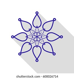 Mandala sign illustration. Vector. Blue icon with flat style shadow path on white background.