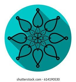 Mandala sign illustration. Vector. Flat black icon with flat shadow on sky circle with white background. Isolated.