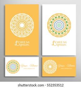 Mandala sign symbol, colorful round ornament. Business cards set. Decorative doodle art, stylized floral pattern. Isolated design elements for logo, icon, label, emblem. Tribal ethnic decoration
