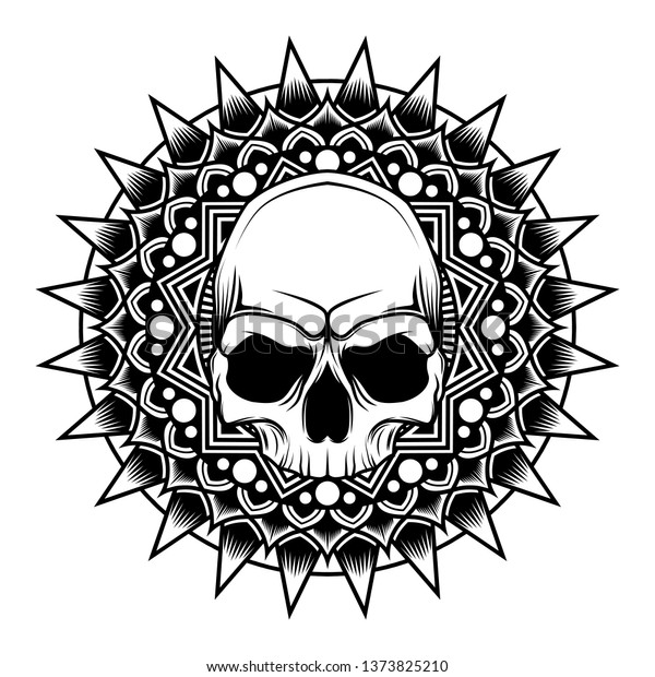 4b8067d61 Mandala Skull Vector Illustration art - design for tattoo t-shirt and other  with floral