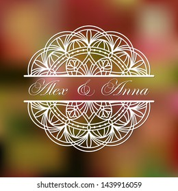 Mandala split for laser cutting.Template of wedding monogram. Doily halves cut file. Vector illustration in paper art. Silhouette of divider.