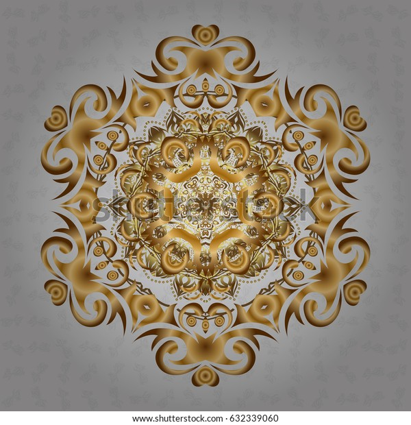 Mandala style. Golden mandala on gray background. Rich ethnic striped seamless pattern geometric design. Vector illustration.