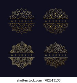 Mandala texture background flower beautiful vector vintage decorative element oriental illustration logo set logotype