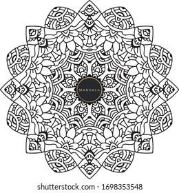 Mandala, tracery round boho doodle. Ethnic ornament, sketched symmetry. Folk, meditation design. Curved shape, isolated on white. Black and white art. Vector