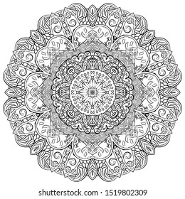 Mandala, tracery wheel mehndi design. Ethnic ornament, doodle symmetry texture. Folk traditional spiritual tribal design. Curved shape, isolated on white. Binary monochrome black and white art. Vector