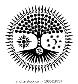 Mandala with the tree of life and the sign of Aum, om, ohm. Mystical symbol. The sun, the moon and the universe. Black and white graphics. Vector