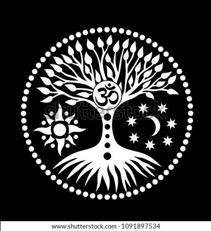 mandala tree life sign aum omohm stock vector royalty free