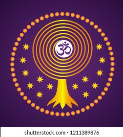 Mandala. Tree of life from a spiral on a starry violet  background. Aum / Om / Ohm symbol in center. Art graceful drawing. Vector picture.