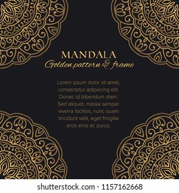 Mandala universal constructor set. Golden vector seamless pattern, corner frame elements and design template for postcards, banners and decor