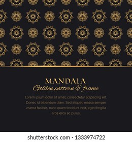 Mandala universal constructor set. Golden vector seamless pattern, border element and design background template for postcards, banners and decor